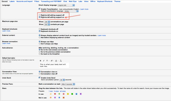 Gmail Settings - Text Direction